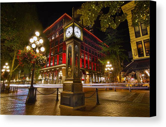 Steam clock in historic gastown vancouver bc canvas print canvas steam clock canvas print featuring the photograph steam clock in historic gastown vancouver bc by david reheart Images