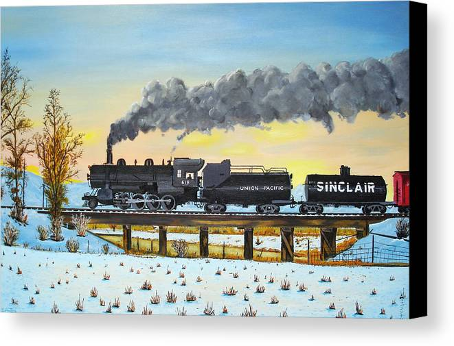 Trains-steamtrains-paintings-landscape Trains -landscapes Skies- Locomotives Bridges Canvas Print featuring the painting Steam Train One From Mike Massee Photo by Stephen Ponting
