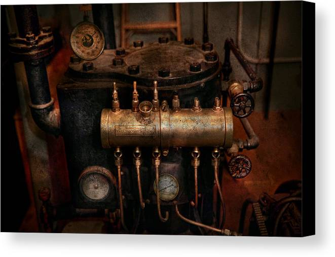 Steampunk Canvas Print featuring the photograph Steampunk - Plumbing - The Valve Matrix by Mike Savad