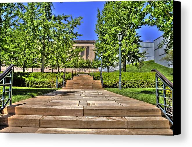 Hdr Canvas Print featuring the photograph Steps To The Nelson by Timothy Bischoff