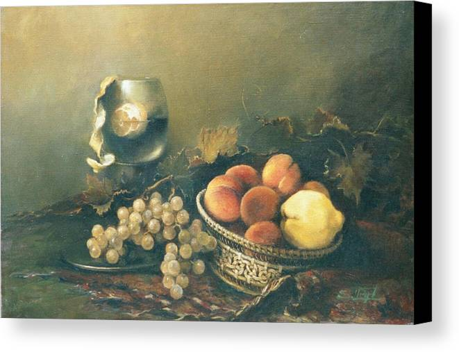 Armenian Canvas Print featuring the painting Still-life With Peaches by Tigran Ghulyan