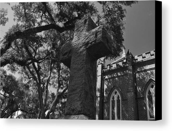 Cross Canvas Print featuring the photograph Stone Cross by James Luce