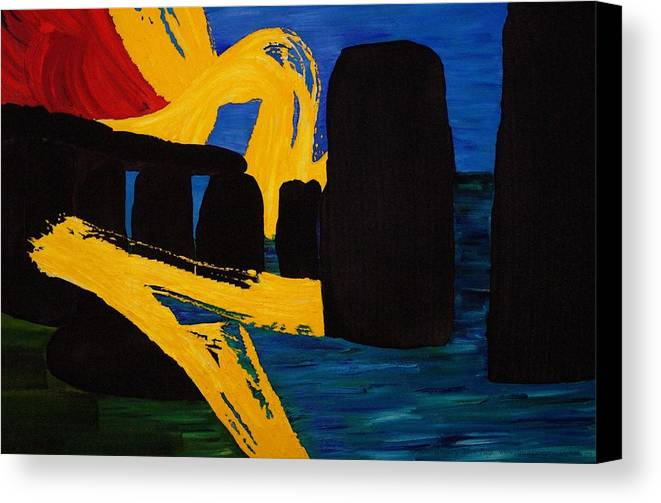 Stonehenge Canvas Print featuring the painting Stonehenge Abstract Evolution1 by Gregory Allen Page