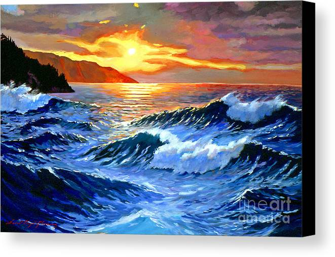 Waves Canvas Print featuring the painting Storm Clouds - Catalina Island by David Lloyd Glover