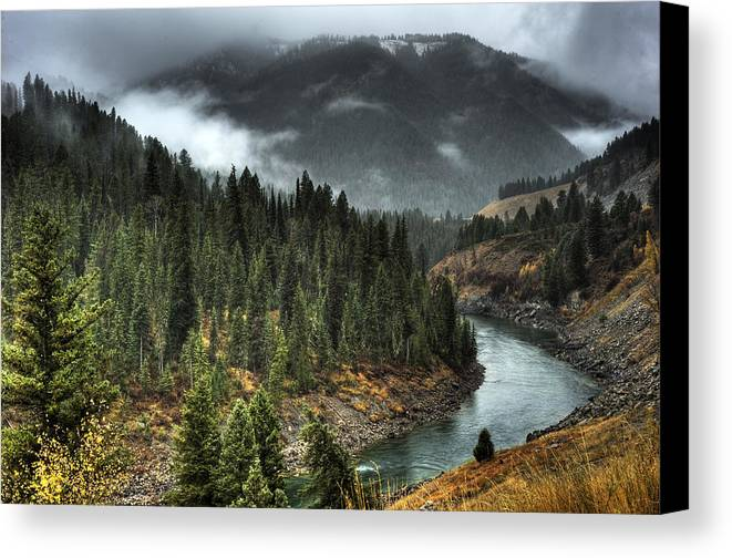 Places Canvas Print featuring the photograph Storm In Snake River Canyon by Dennis Hammer