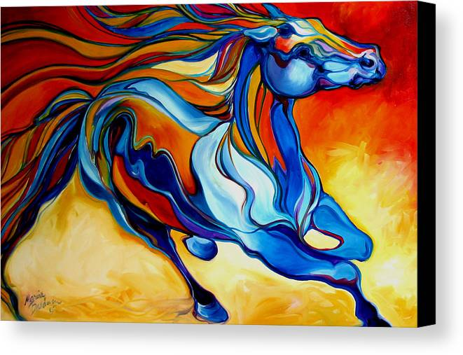 Horse Canvas Print featuring the painting Stormy An Equine Abstract Southwest by Marcia Baldwin