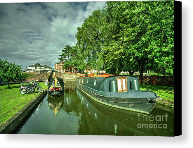 Barge Canvas Print featuring the photograph Stourport Narrowboats by Rob Hawkins
