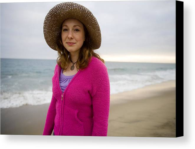 Girl Canvas Print featuring the photograph Straw Hat At The Beach by Brad Rickerby