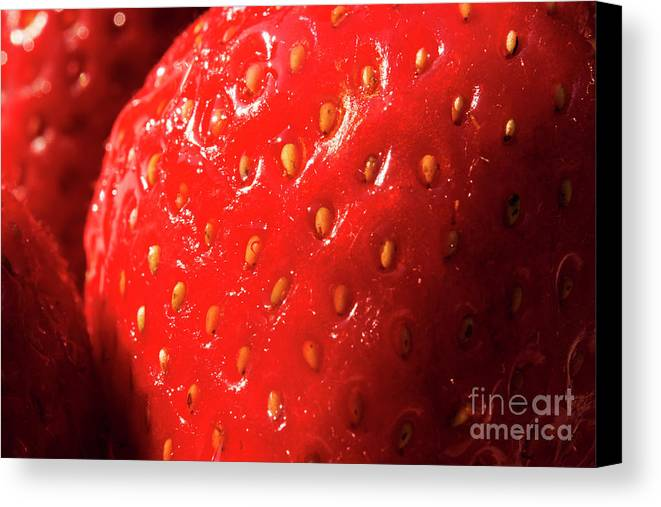 Strawberry Canvas Print featuring the photograph Strawberry Abstract by Michelle Himes