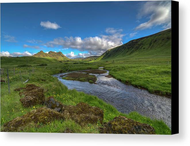 Landscape Canvas Print featuring the photograph Stream South Iceland by Mike Deutsch