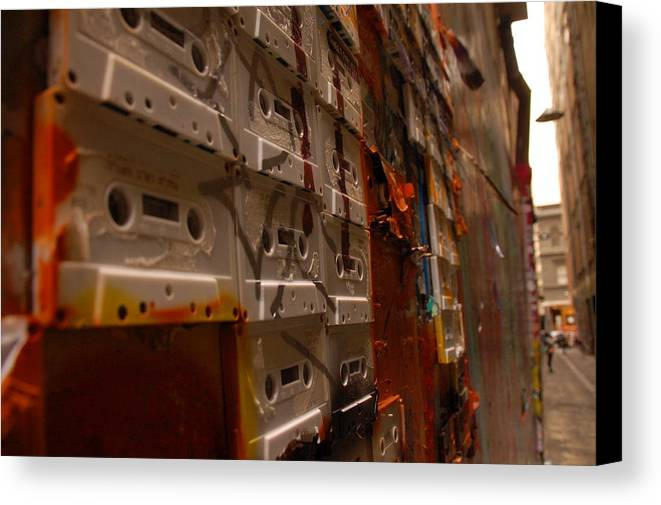 Tape Canvas Print featuring the photograph Street Art by Harry Coburn