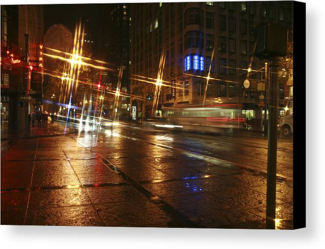 Night Canvas Print featuring the photograph Streets by Wes Shinn