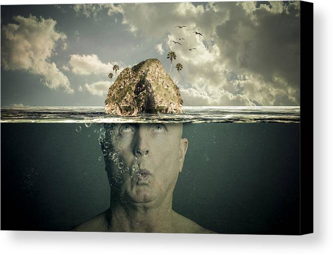 Submerged Canvas Print featuring the digital art Submerged Man by Randy Turnbow