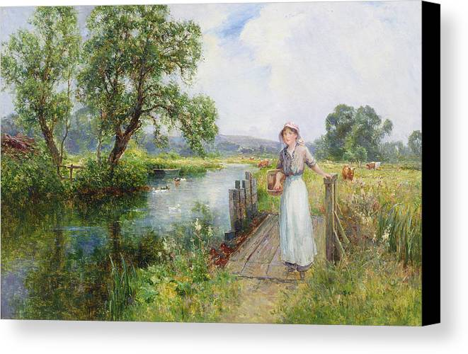 Season; Female; Girl; Bridge; Riverbank; River; Towpath; Victorian; Meadow; Rural; Countryside; Rural Canvas Print featuring the painting Summer by Ernest Walbourn