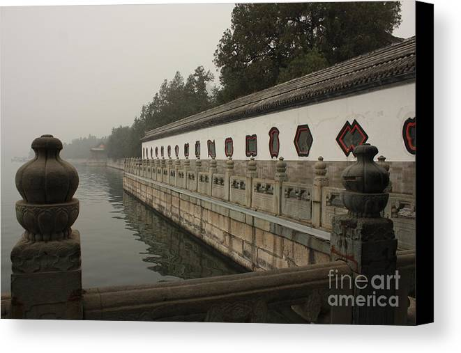 Summer Palace Canvas Print featuring the photograph Summer Palace Pond With Ornate Balustrades by Carol Groenen
