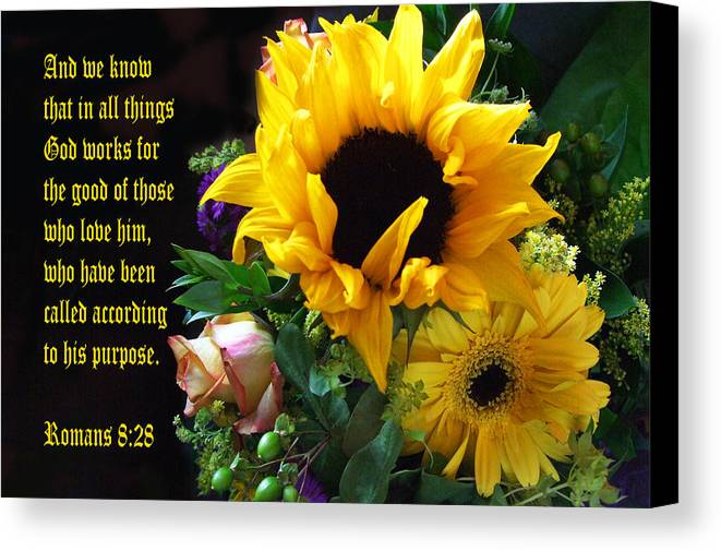 Scripture Canvas Print featuring the photograph Sunflower Bouquet by Linda Phelps