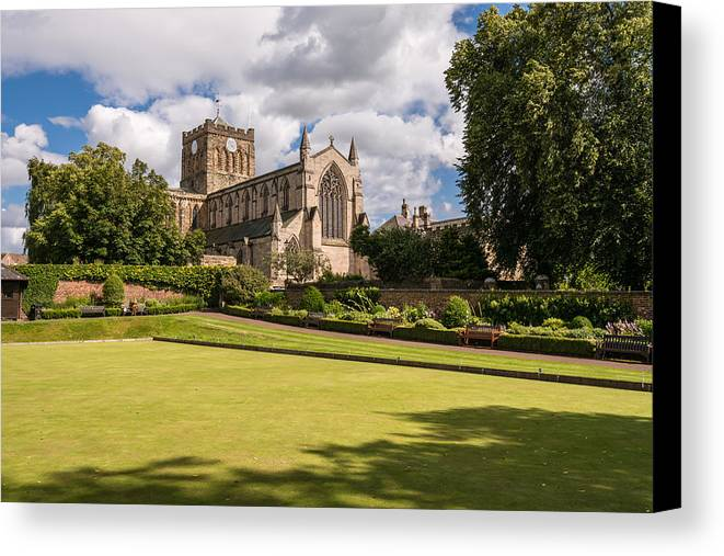 Northumberland Canvas Print featuring the photograph Sunny Day At Hexham Abbey by David Head
