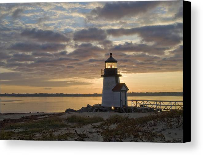 Krauzyk Canvas Print featuring the photograph Sunrise At Brant Point Nantucket by Henry Krauzyk