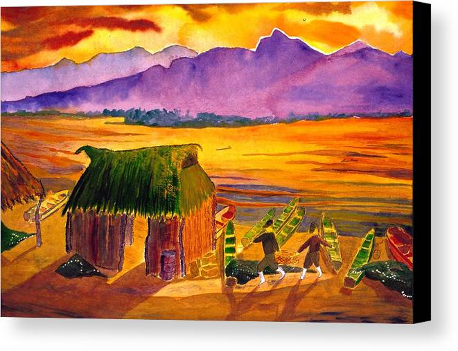 Seascape Canvas Print featuring the painting Sunrise At La Brecha by Buster Dight