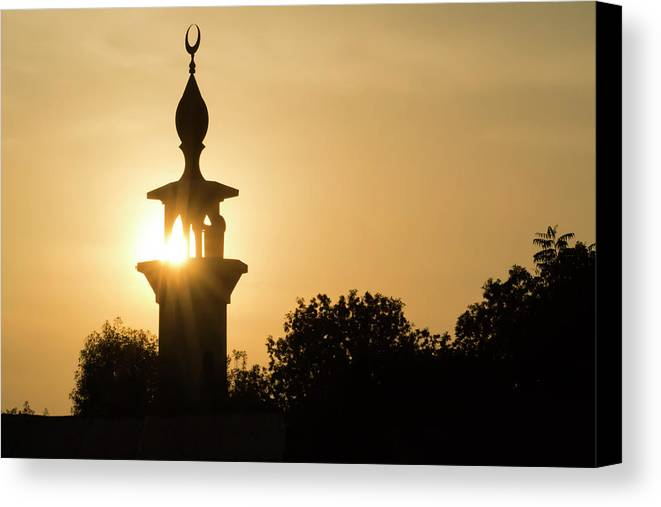 Mosque Canvas Print featuring the photograph Sunrise At Mosque Of Tadjourah In Djibouti East Africa by Hiren Ranpara