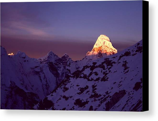 Horizontal Canvas Print featuring the photograph Sunrise At Mt. Ama Dablam by Pal Teravagimov Photography