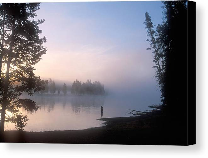 Wyoming Canvas Print featuring the photograph Sunrise Fishing In The Yellowstone River by Michael S. Lewis