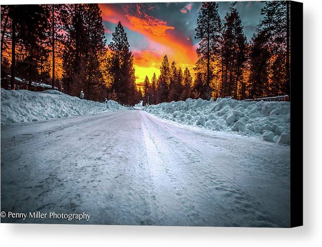 Sunrise Canvas Print featuring the photograph Sunrise On A Rural Road by Penny Miller