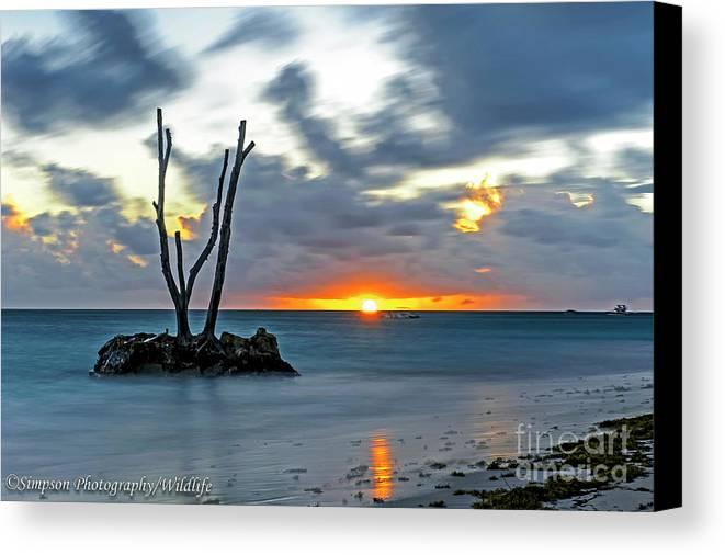 Sunrise Canvas Print featuring the photograph Sunrise Punta Cana by Ron Simpson