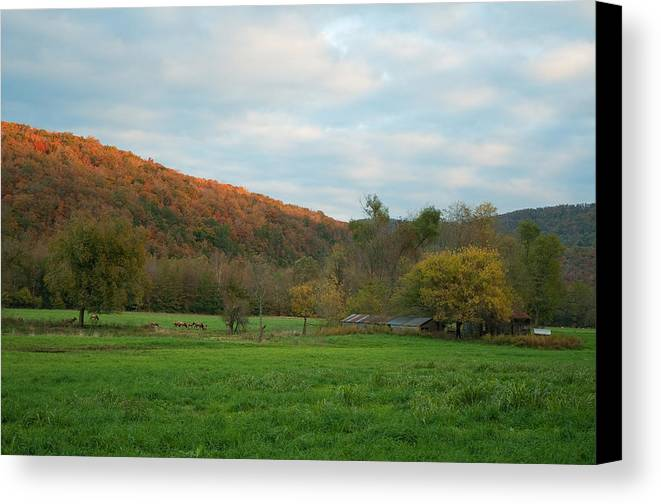 Landscape Canvas Print featuring the photograph Sunset At Boxley Valley Arkansas by David Waldrop