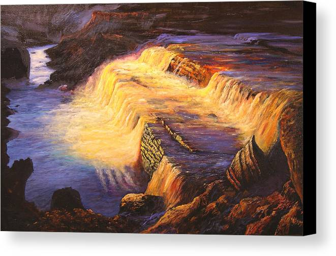 Connie Tom Canvas Print featuring the painting Sunset At Grand Falls by Connie Tom