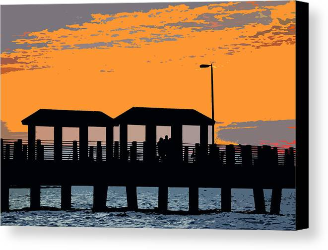 Art Canvas Print featuring the painting Sunset At The Fishing Pier by David Lee Thompson