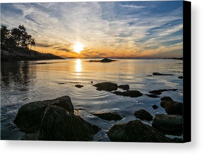 Sunset Canvas Print featuring the photograph Sunset Cove Gloucester by Michael Hubley