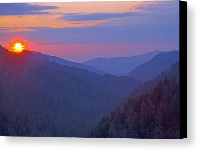 Sunset Canvas Print featuring the photograph Sunset In Great Smoky Mountain National Park Tennessee by Brendan Reals