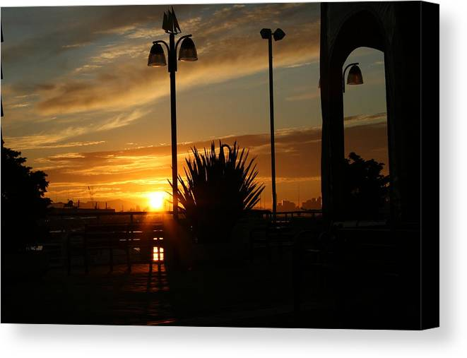 Sunset Canvas Print featuring the photograph Sunset On The Dock by Joshua Sunday