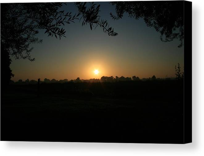 Sunset Canvas Print featuring the photograph Sunset On The Farm by Joshua Sunday