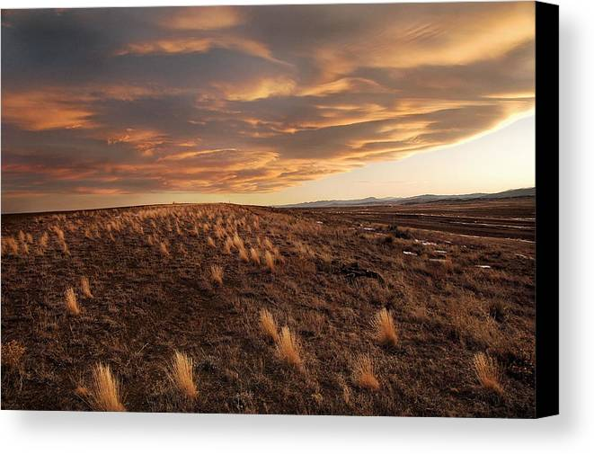 Mixed Media. Mixed Media Sunset Photography. Mixed Media Colorado Sunset Photography. Colorado. Colorad Sunset Photography. Sunset. Sunrise. Landscapes. Mountain Photography. Fort Collins Colorado. Fort Collins Colorado Photography. Canvas Print featuring the photograph Sunset On The Ridge by James Steele