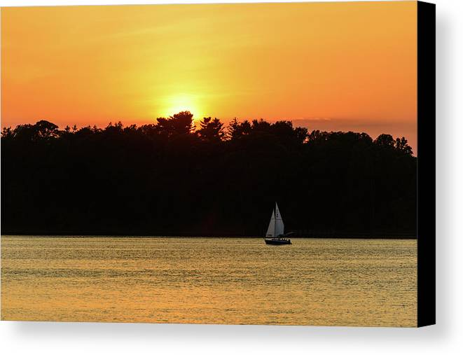 Fair Haven Canvas Print featuring the photograph Sunset Sail by Marlo Montanaro