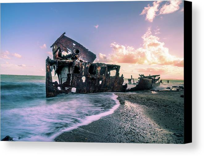 Shipwreck Canvas Print featuring the photograph Sunset Shipwreck by Cameron Richardson