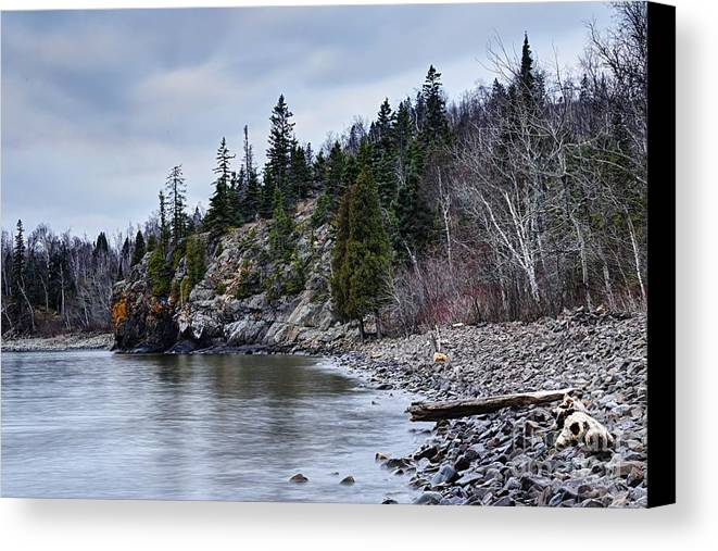 Photography Canvas Print featuring the photograph Superior Cliffs by Larry Ricker