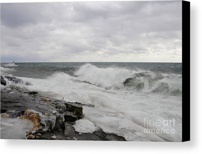 Superior Canvas Print featuring the photograph Superior Wild Waves by Sandra Updyke