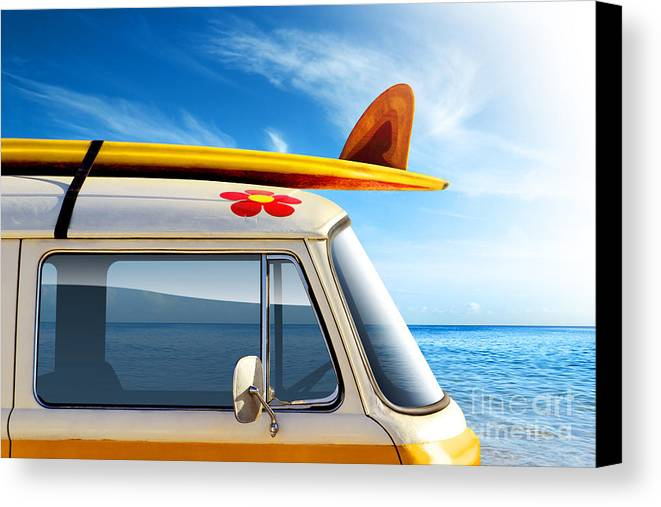 60ties Canvas Print featuring the photograph Surf Van by Carlos Caetano