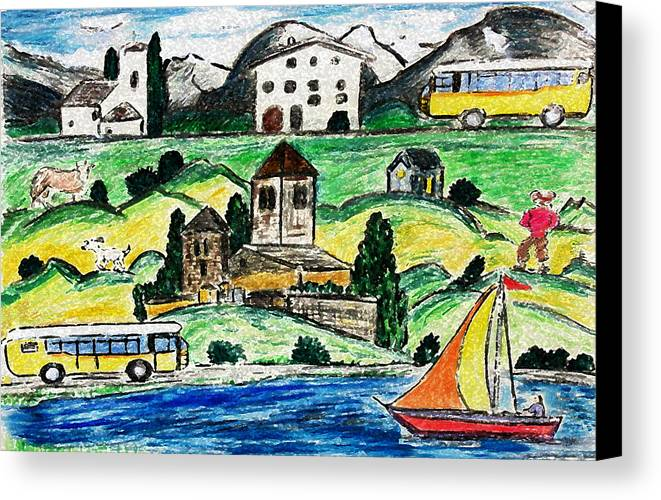 Landscape Canvas Print featuring the painting Surreal Travel by Monica Engeler