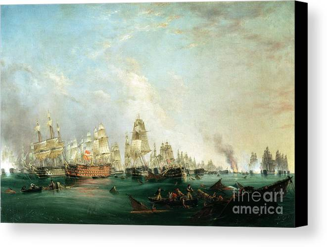 Surrender Canvas Print featuring the painting Surrender Of The Santissima Trinidad To Neptune The Battle Of Trafalgar by Lieutenant Robert Strickland Thomas