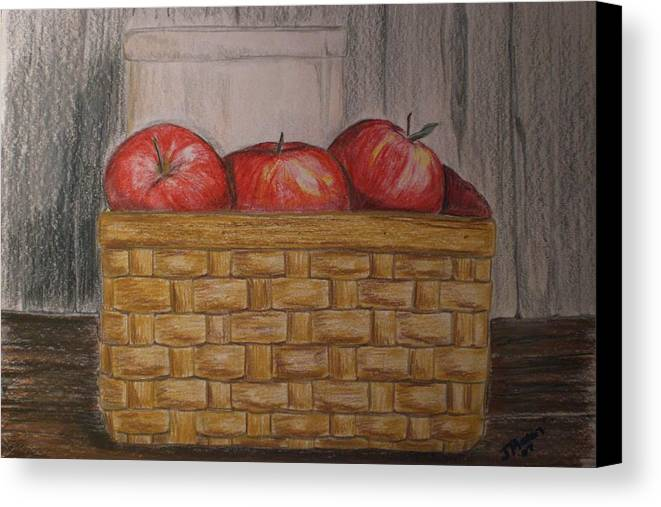 Apples Canvas Print featuring the drawing Sweet Pickens by Jessica Mason