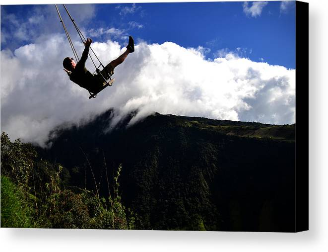 Swing Canvas Print featuring the photograph Swing At The End Of The World by Harry Coburn