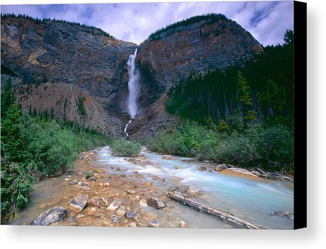 British Columbia Canvas Print featuring the photograph Takkakaw Falls by George Oze