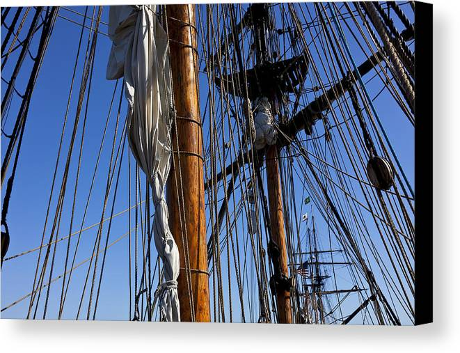 Blue Sky Canvas Print featuring the photograph Tall Ship Rigging Lady Washington by Garry Gay