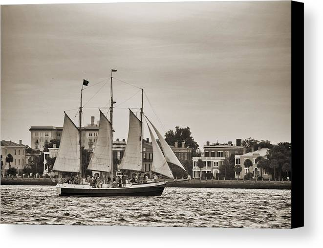 Tall Ship Canvas Print featuring the photograph Tall Ship Schooner Pride Off The Historic Charleston Battery by Dustin K Ryan