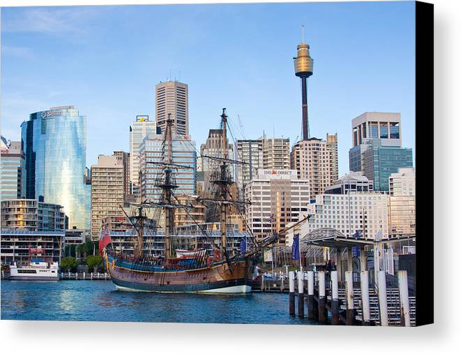 Sydney Canvas Print featuring the photograph Tall Ships - Sydney Harbor by Charles Warren