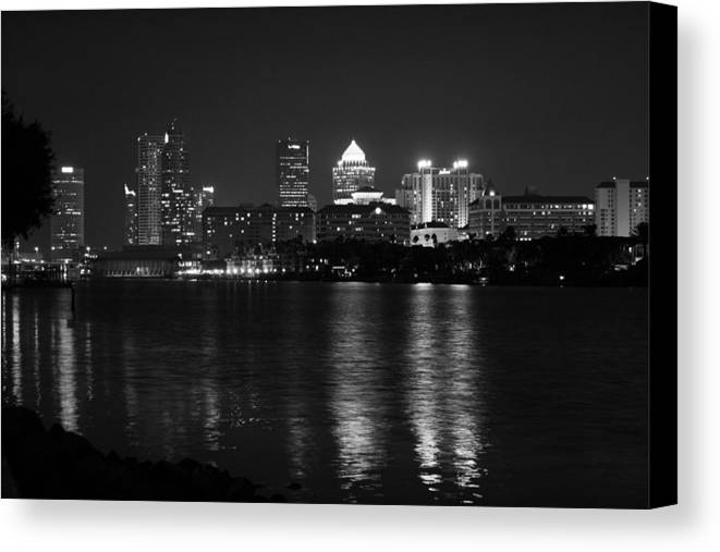 Tampa Canvas Print featuring the photograph Tampa Skyline South Black And White by Larry Underwood